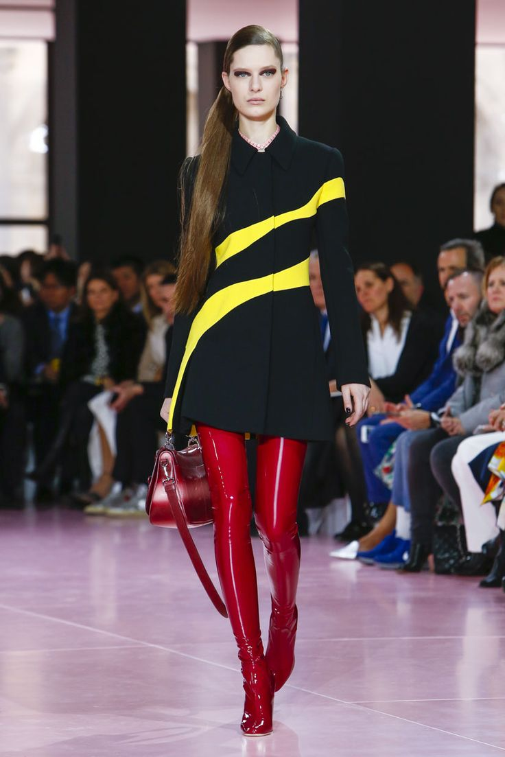 Dior RTW AW15 Fashion show in Paris latex boots with Lucite heels