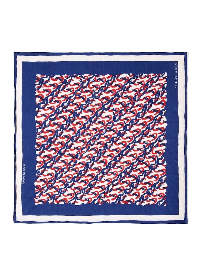 Sunspel X 45R Cotton Stitch Print Scarf In Navy