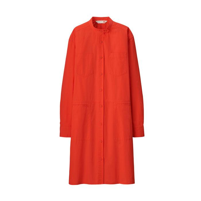Tomas Maier X Uniqlo stand-collar long-sleeve long shirt