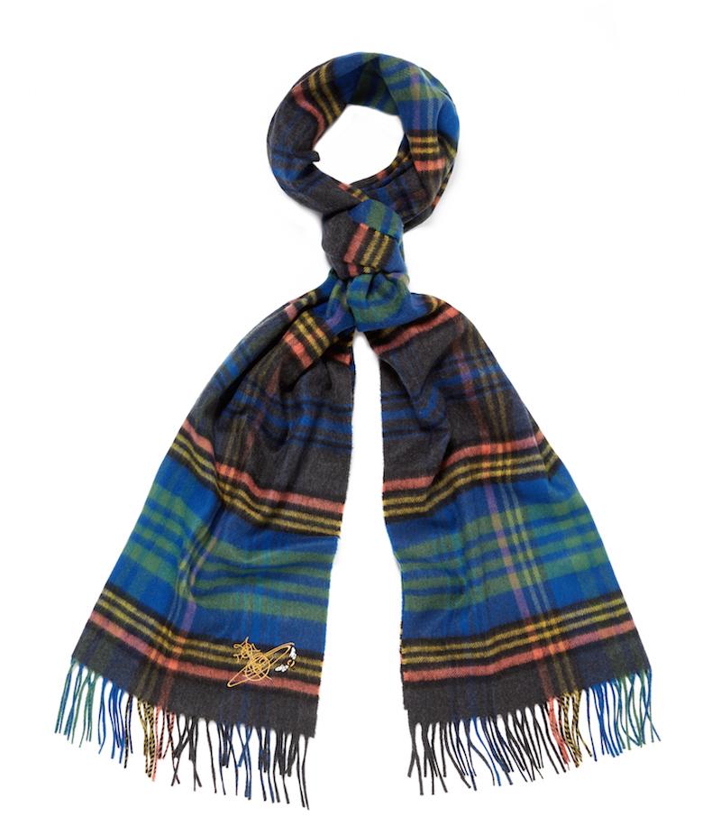 Vivienne Westood x Johnstons of Elgin blue tartan scarf