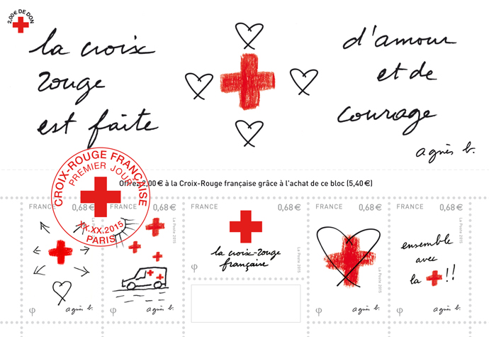 agnes b stamps for red cross
