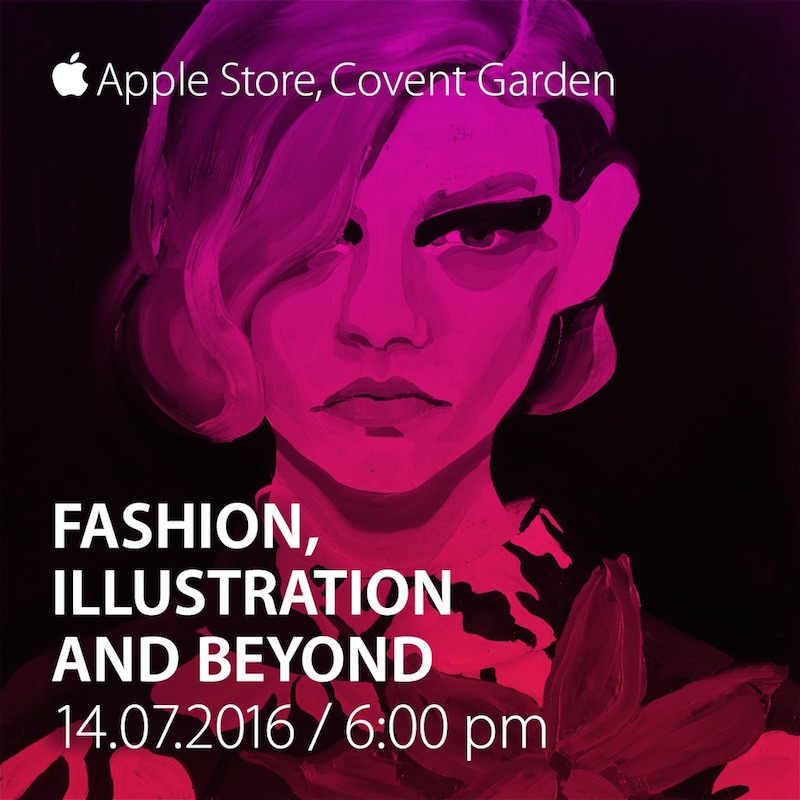 fashion illustration panel apple store Gill button