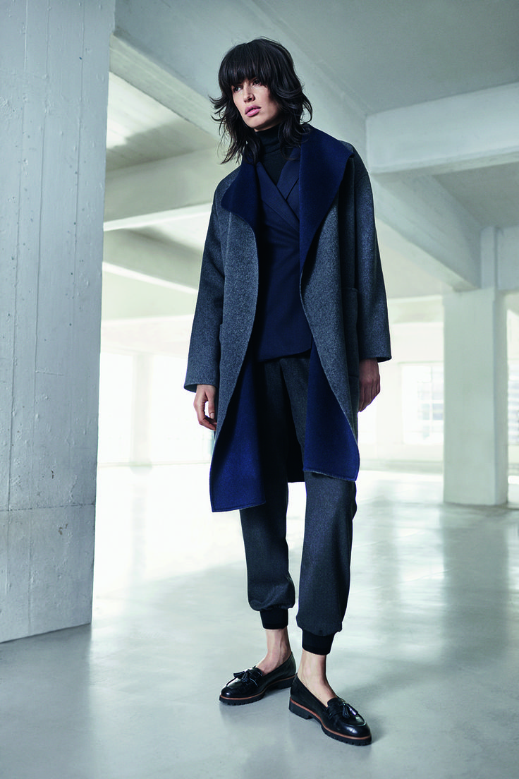2 JIGSAW AW15 Double Faced Wrap Coat £298 Flannel Wrap Jacket £179 Silk Cotton Polo Neck Sweater £79 Flannel Tailored Joggers £110 Phoebe Tassel Loafer £149