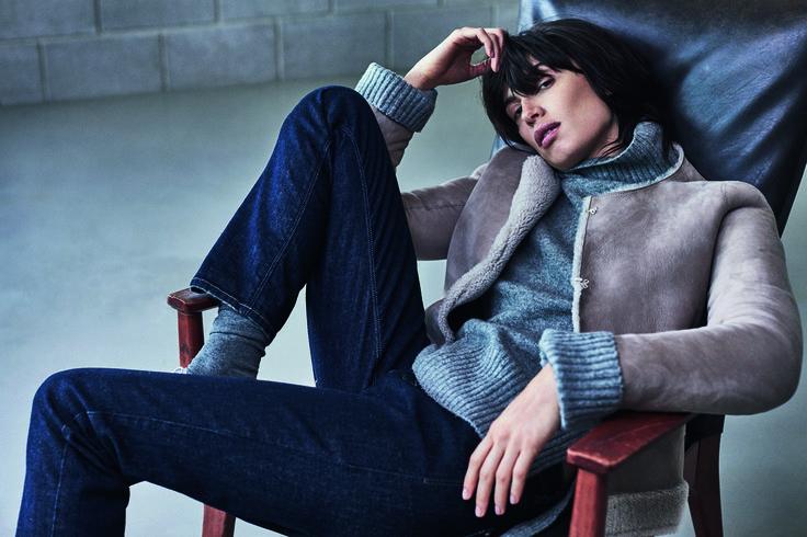 JIGSAW AW15 Sheepskin Jacket £495 Soft Stretch Polo Neck Sweater £129 Richmond Indigo Skinny Jeans £79