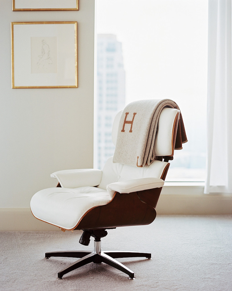 office chair with Hermes throw