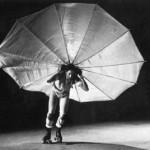 Robert Rauschenberg on rollerskates
